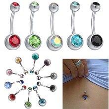 Nova moda feminina cirúrgica aço cristal umbigo umbigo belly button anel barra corpo piercing jóias #83755