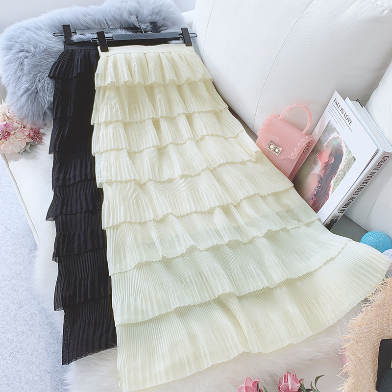 Wasteheart Spring Women Fashion White Black Skirt High Waist Ruffles Pleated Ankle Length Long Skirts
