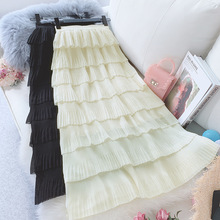 Wasteheart Spring Women Fashion White Black Skirt High Waist Ruffles Pleated Ankle Length Long Skirts