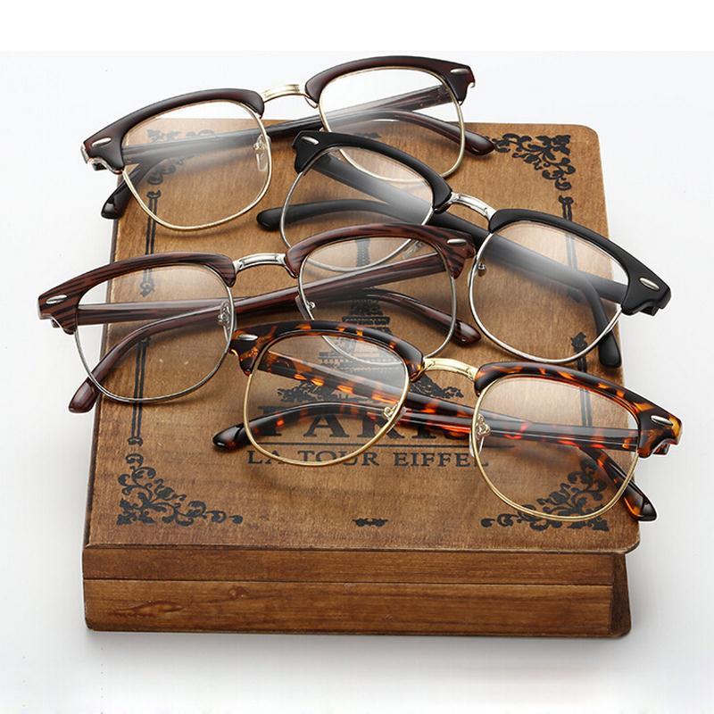 Klassische Retro klare Linse Nerd Rahmen Brillen Myopie Modemarke Designer Männer Frauen Brillen Optik Halber Rahmen Metall Brillen