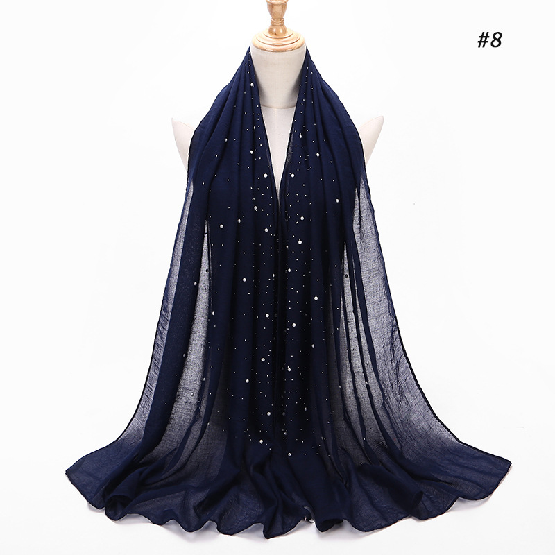 2019 Muslim women summer soft thin cotton crinkle hijab scarf large diamonds glitter femme musulman shawls islamic headscarf in Islamic Clothing from Novelty Special Use