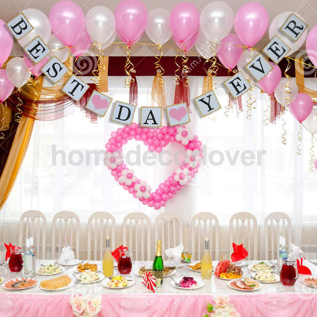 BEST DAY EVER Bunting Banner Hanging Sign Wedding Party Anniversary ...