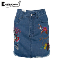 Everkaki Women Multi Pockets Denim Mini Skirt Summer Flower Birds Embroidered Zipper Skirt Ladies Casual Short