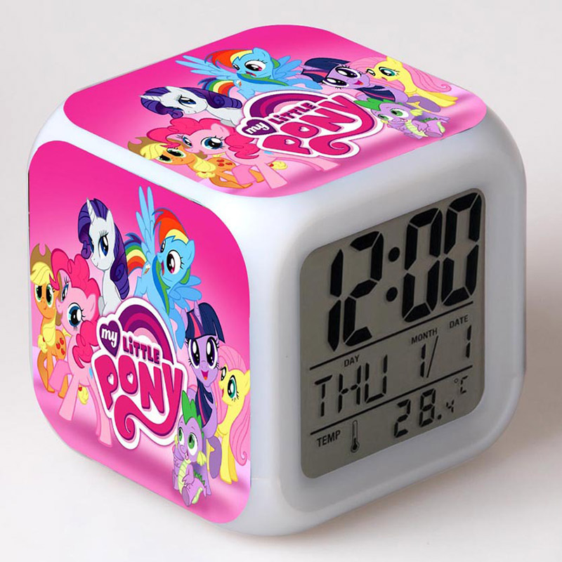 Anime Figurines little Horse Alarm Clock LED Color Touch Light My Poni Doll PVC Desk Watch Kids Toys цены онлайн