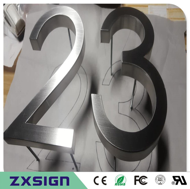 Factoy Outlet Outdoor Brushed Stainless Steel Letters And House Numbers For 10cm High