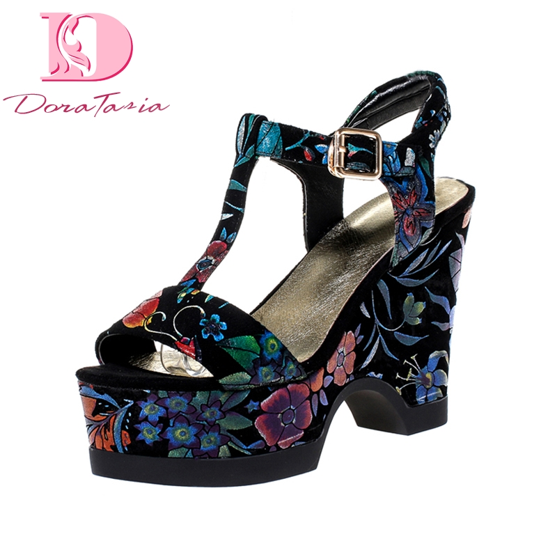 Doratasia New women s Genuine Leather Buckle Strap Wedges Print Platform Shoes Woman Casual Ethnic Summer
