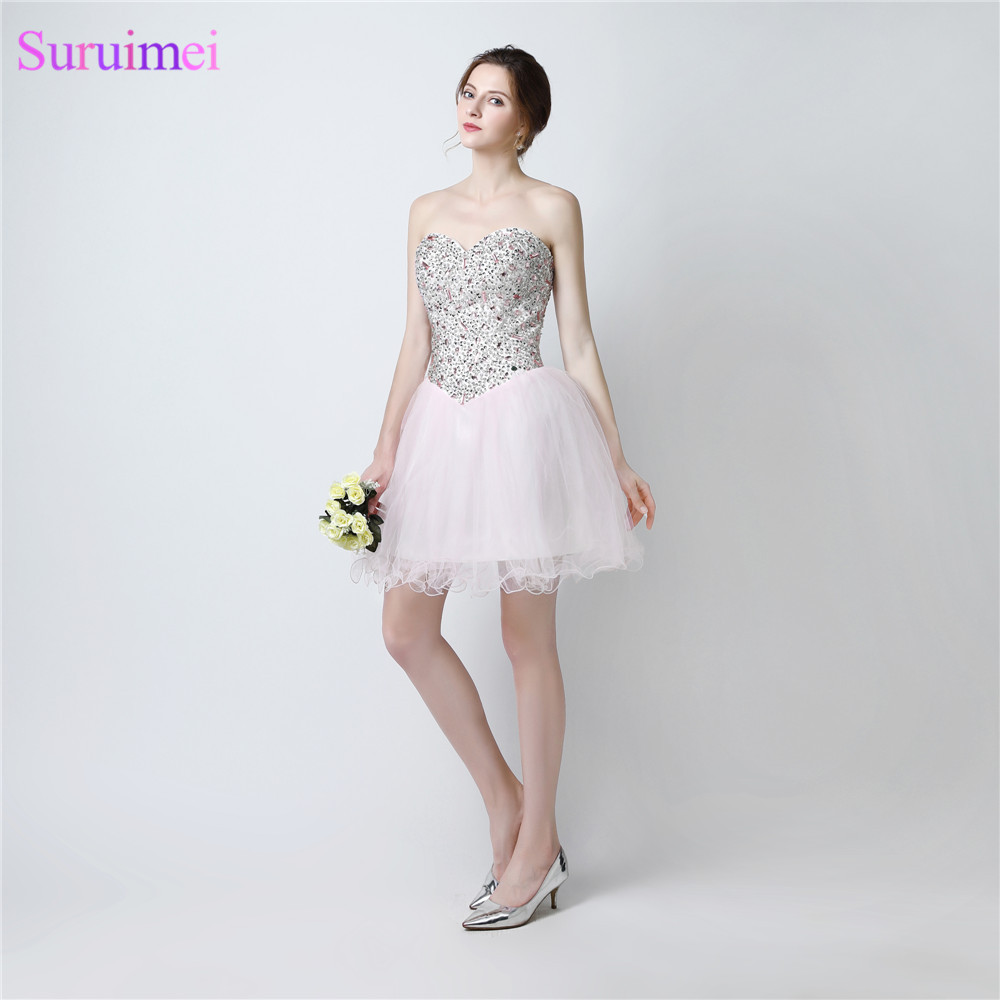 Light Pink Prom Dresses Short Mini Tulle Beaded Cheap Prom Dress Graduation  Party Gown-in Prom Dresses from Weddings   Events on Aliexpress.com  a3fa24d12d77