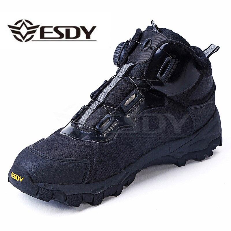 Homens Tático Militar Botas Lace Up Tornozelo Botas de Combate Do Exército Dos Homens de Couro do Inverno Plana Sapatos de Trabalho de Segurança