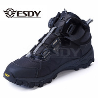 Men Tactical Military Boots Winter Leather Lace Up Combat Army Ankle Boots Mens Flat Safety Work