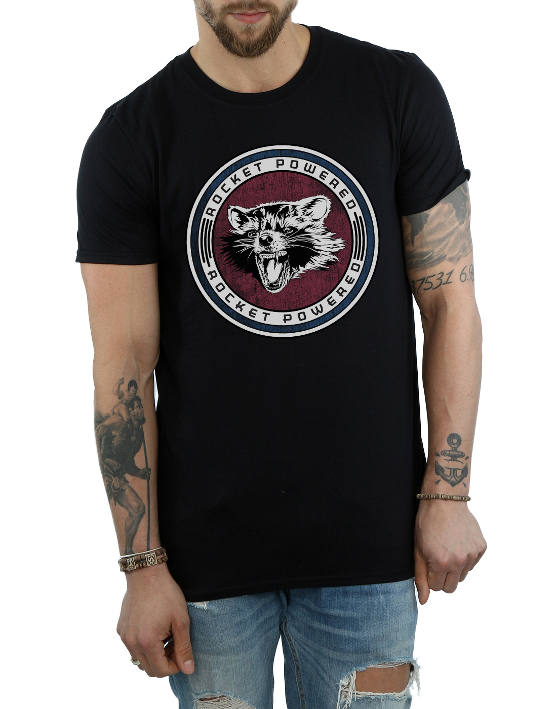 Marvel Mens Guardians of the Galaxy Rocket Powered T-Shirt Fashion T Shirts Brand