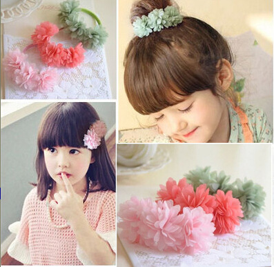 8 Colors Available. Elastic Hair Band /Hair Clips with Floral made of Snow Yarn,Hair Accessories for Girl. high quality hair color one time molding paste seven colors available grandma gray green japanese hair dye wax wp65