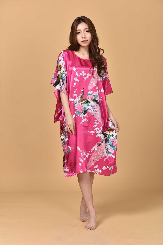 2d9ff7a099a4719 ... Летнее ярко-розовое сексуальное шелковое вискозное домашнее платье  женская летняя ночная рубашка халат платье кимоно ...