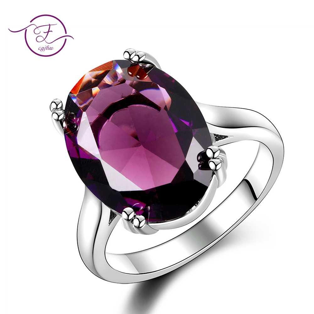 Elegant Natural Amethyst แหวนเงินรูปไข่ 13 มม.X 18 มม.สีม่วง Multicolor 925 เครื่องประดับแหวนแฟชั่นผู้หญิงของขวัญครบรอบ