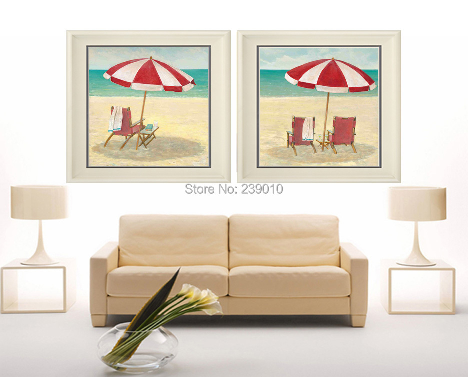 Free Shipping Mediterranean Oil Painting Canvas Prints Small Fresh Beach Chairs Scenery Printed On Canvas Decoration Picture Painting & Calligraphy