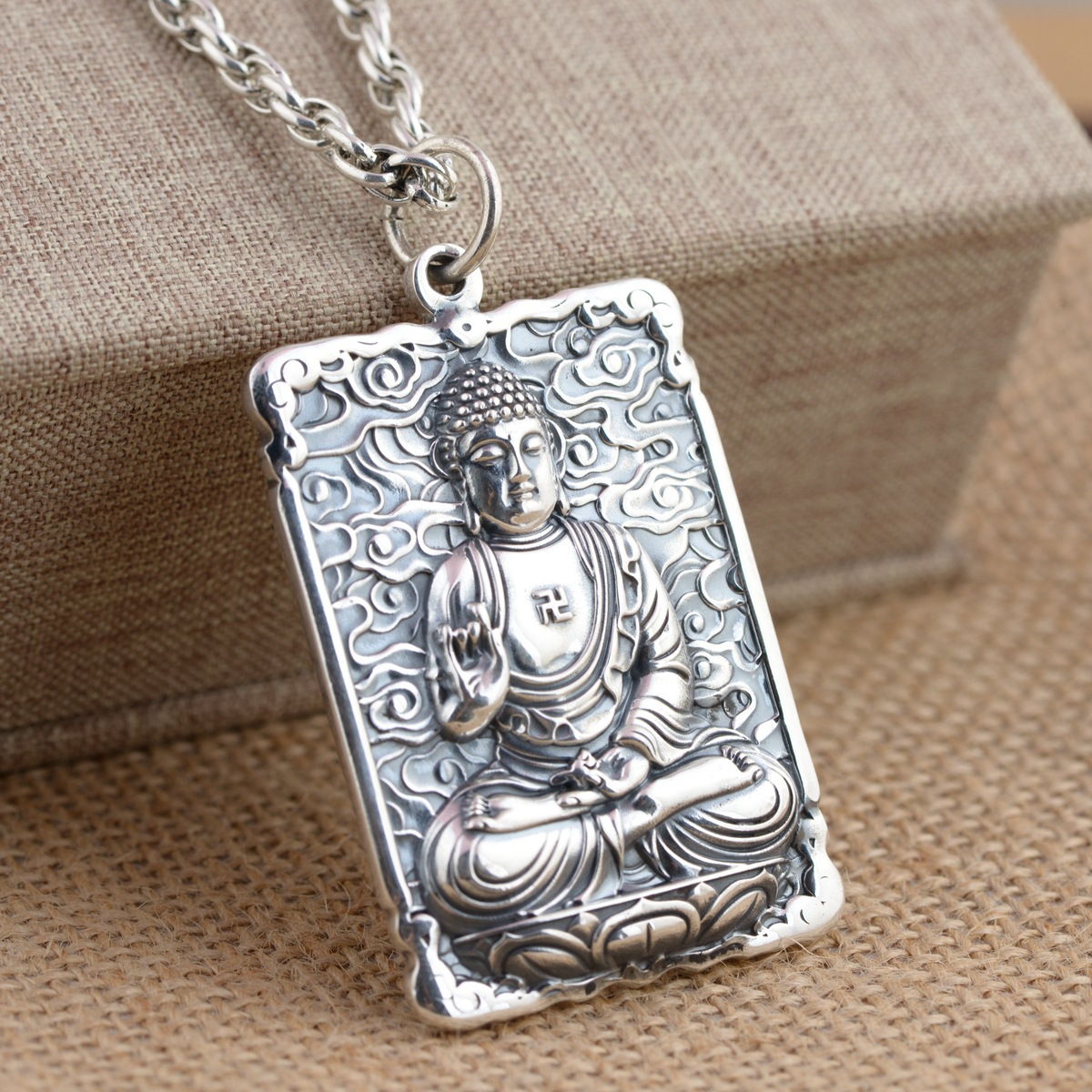 925 Sterling Silver Zodiac Life Buddha Pendant Patron Saint Pendant natural green buddha a buddism buddha pendant saint cut the life of buddha zodiac men and women necklace will day jade emerald