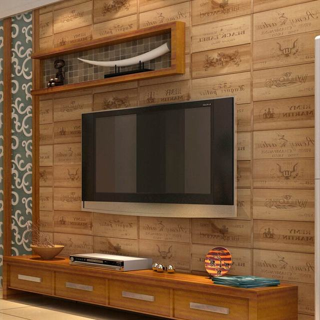 Art Show Wood Texture 3D Vinyl Letter Wallpaper Countryside Pub Dining Room  Kitchen Wall Covering Wallpaper Part 89