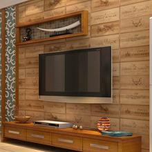 European Style Wood Texture Letter Vinyl Wallpaper Kitchen Living Room  Restaurant 3D PVC Waterproof Wall Paper Mural Decor Art