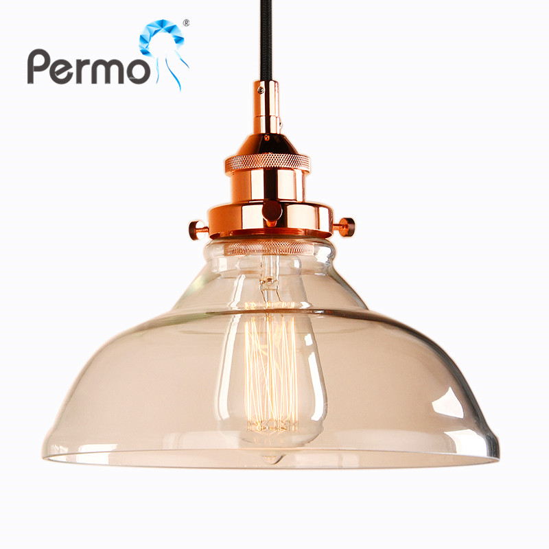 PERMO 9.8 Hot Sale Pendant Lights Copper Glass Pendant Ceiling Lamps Modern Hanglamp Luminaire Lights Fixture Home Decorations