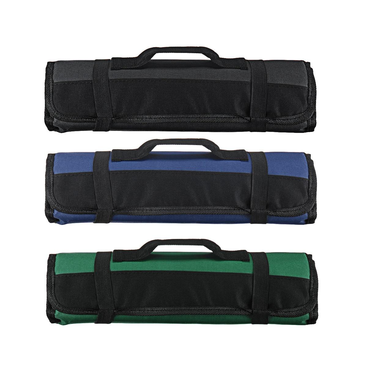 3 farbe Wahl Chef Messer Tasche Rollen Tasche Tragen Fall Tasche Küche Kochen Tragbare Durable Lagerung 22 Taschen Schwarz Blau grün