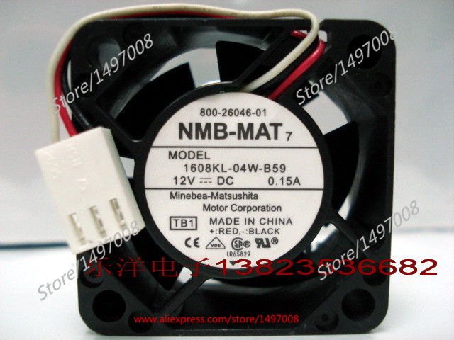NMB-MAT  1608KL-04W-B59 TB1  DC 12V 0.15A     40x40x20mm Server Square fan nmb mat 3110kl 04w b49 b02 b01 dc 12v 0 26a 3 wire server square fan