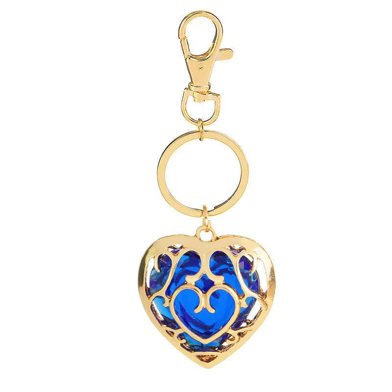 2019 nouveau populaire gemmes pierre creux coeur porte-clés légende de Zelda découpe amour cristal bleu rouge porte-clés pour les femmes sac chaud