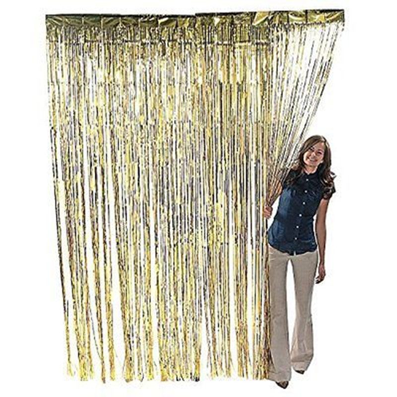 3 ft x 8 ft metallic gold foil fringe curtain shimmer curtain birthday decor new christmas new year decorations