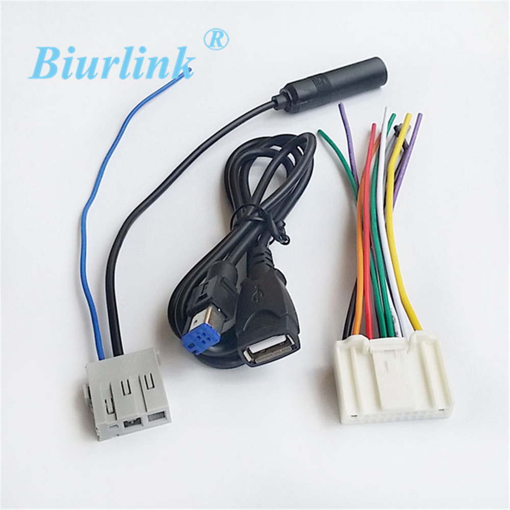 Leewa 5pcs Suit Car Stereo Cd Player Wiring Harness Adapter Plug For Radio Antenna Extension Usb Cable Wire Nissan Qashqai New Teana