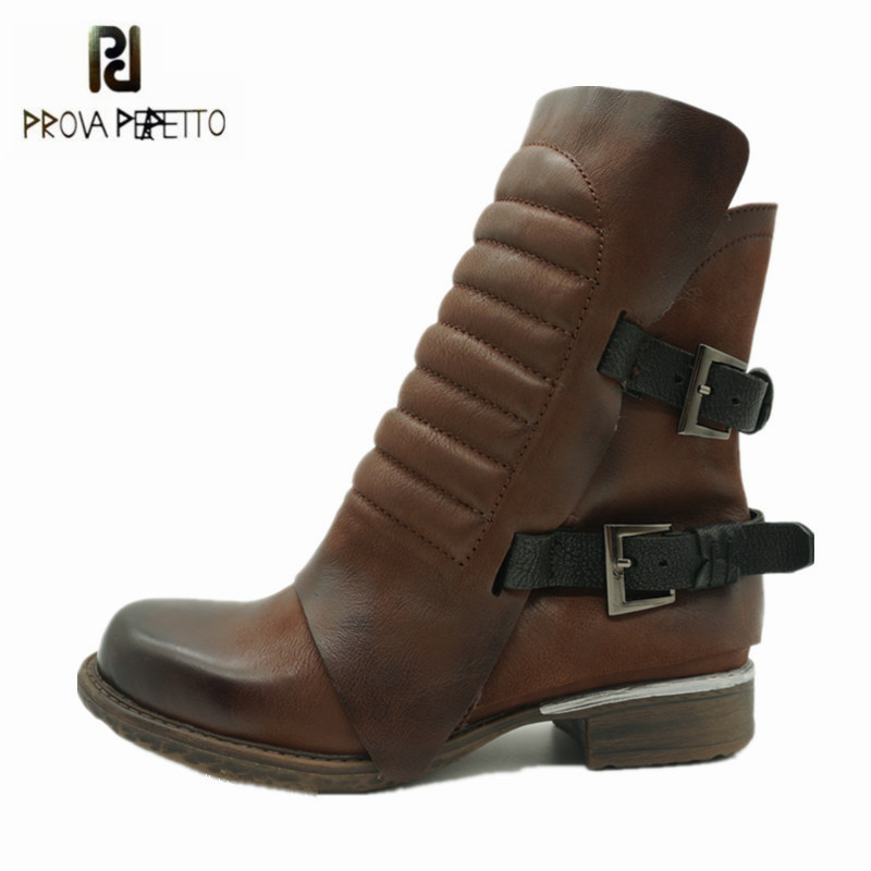 Prova Perfetto Retro Soft Genuine Leather Women Ankle Boots Straps Platform Flat Rubber Botas Mujer Female Short Martin Boots prova perfetto black handmade women genuine leather mid calf boots buckle straps martin boots women platform rubber shoes woman