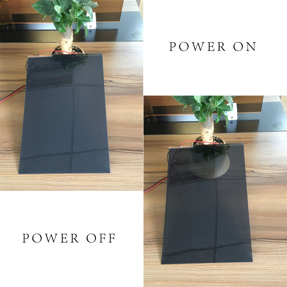 A4 Sample 210mmx297mm PDLC Black Smart Film Self adhesive Film Switchable Power on and off Opaque Bathroom,home window office