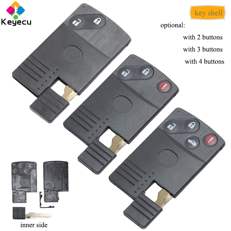 KEYECU Replacement Smart Card Remote Key Shell- 2/ 2+1/ 3/ 3+1/ 4 Buttons& Uncut Blade-FOB for Mazda 5 6 CX-7 CX-9 RX8 Miata MX5 image