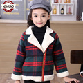 children woolen clothing female child outerwear winter female baby child plus velvet thermal winter overcoat plaid suit