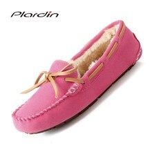 e6ed74654 Plardin Bowwool Novo Feijão Sapatos De Lã De Couro Genuíno de Couro das mulheres  Sapatos de Inverno Botas de Neve de Veludo de A..