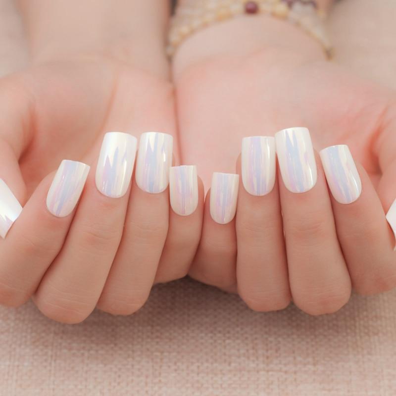 24pcs Cellophane Glare White False Nails Lady Flat Top Nail Tips ...