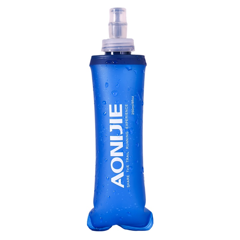 1pc 250/500ML Water Bags Solid Blue Outdoor Camping Hiking Nice Soft Flask Sports Cycling Running Water Hydration Bottle New aonijie foldable soft water bag outdoor sports kettle water storage bottle running hiking travel flask bottle 250ml 500ml