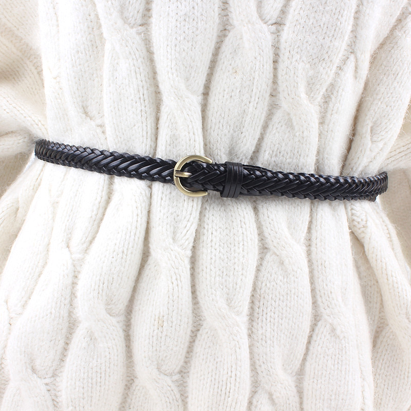 new women leather knitted braided   belt   waist weaving rop retro pin buckle strap for dresses casual luxury black brown white