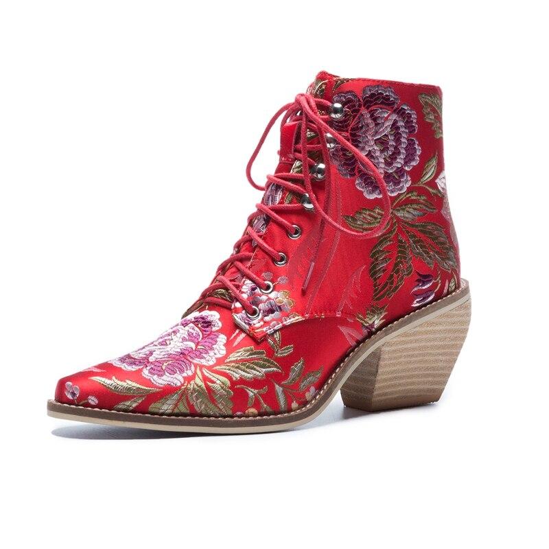 Femme multi Soie Chaussures marron De Bottes Moto Ciel Martin Nouvelle pu 2018 Lace Cheville Broder Up Noir Luxe Automne Hiver Femmes Nouveau rouge A4Rj35L