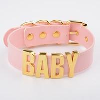 Personalised Custom Name Choker BABY For Women Girls Vegan Leather Wide Big Letter Collar Fetish Kawaii