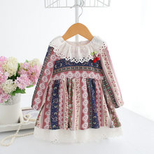 2018 Spring Bohemian Style Berry Appliques Newborn Toddler Striped Baby Girls Dresses Casual Cotton Dresses 0-2T 2 Color(China)