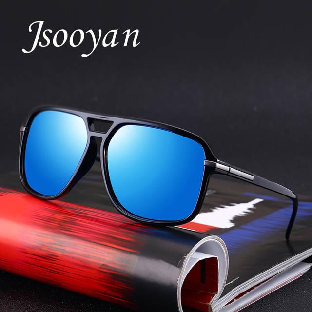 bf18b8c63c0 placeholder Jsooyan Polarized Sunglasses Men Square HD silver mirror Sun  Glasses Retro yellow lens night vision Glass
