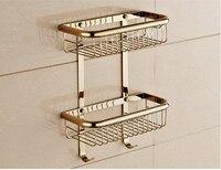 Wall Mounted Fashion Gold Finished Bathroom Soap Basket Bath Shower Shelf Bath Shampoo Shelf Basket Holder