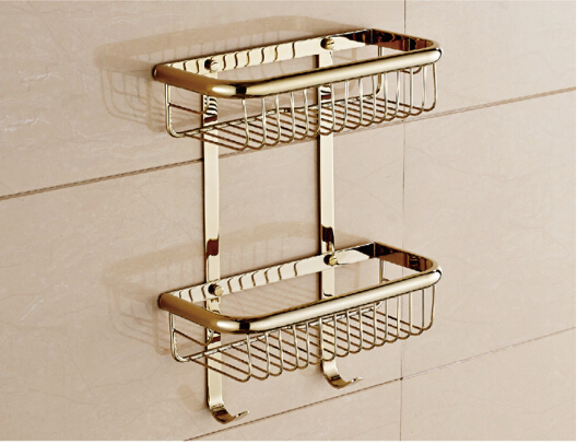 Wall Mounted fashion gold finished Bathroom Soap Basket Bath Shower Shelf Bath shampoo shelf Basket Holder building materia wall mounted chrome bathroom soap dish brass bath shower shelf new arrivals bath shampoo holder basket holder building material