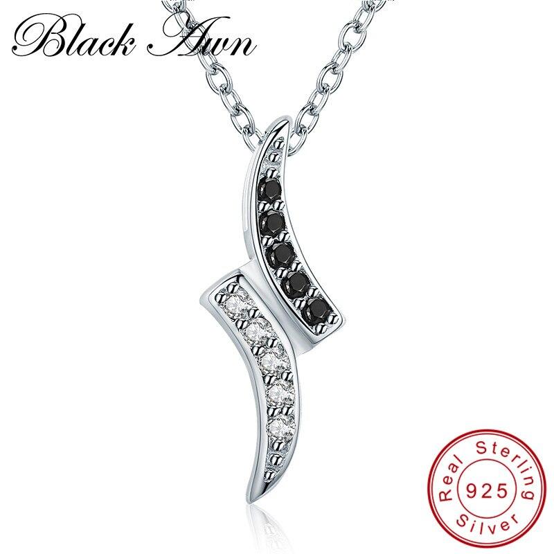 2,3g Edle 925 Sterling Silber Edlen Schmuck Trendy Engagement Halsketten Für Frauen Hochzeit Anhänger P132 schwarz Granne Liefern
