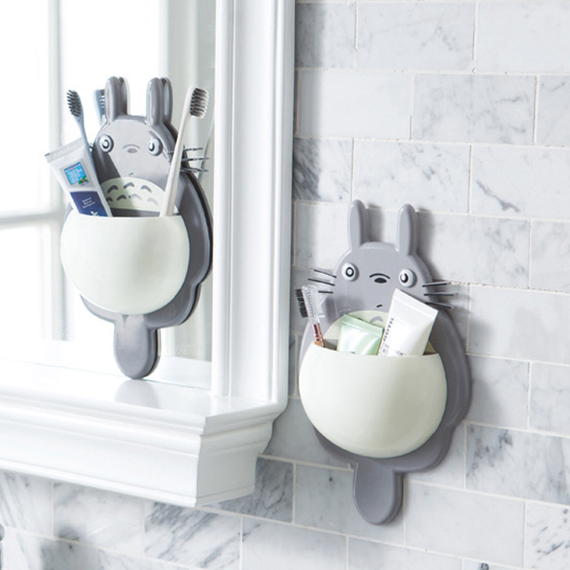 Cute Carton Toothbrush Storage Holder Wall Mount Toothbrush Holder Sucker Suction Organizer for children Home Bathroom image
