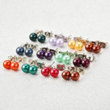 36pair/lot Pearl Stud Earrings Women Bridal Jewelry Lovely 7-7.5mm Baroque Multicolor Earring