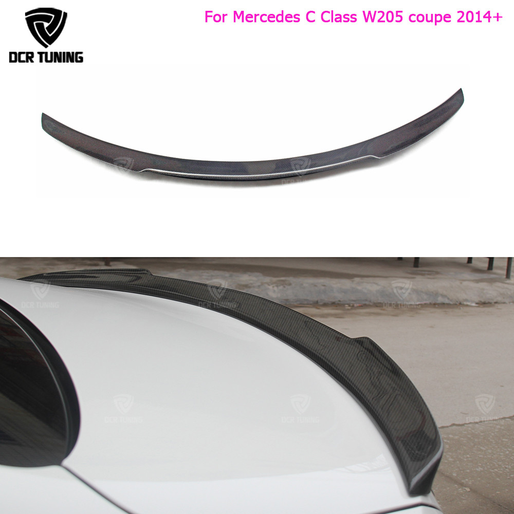 For Mercedes C Class W205 Spoiler Carbon Fiber Rear Trunk Spoiler wing C200 C250 C300 C180 C350 Coupe 2 Door Car 2014 - UP for mercedes w205 carbon spoiler amg style coupe c class w205 c200 c300 c180 carbon fiber rear spoiler rear trunk wing 2014 up
