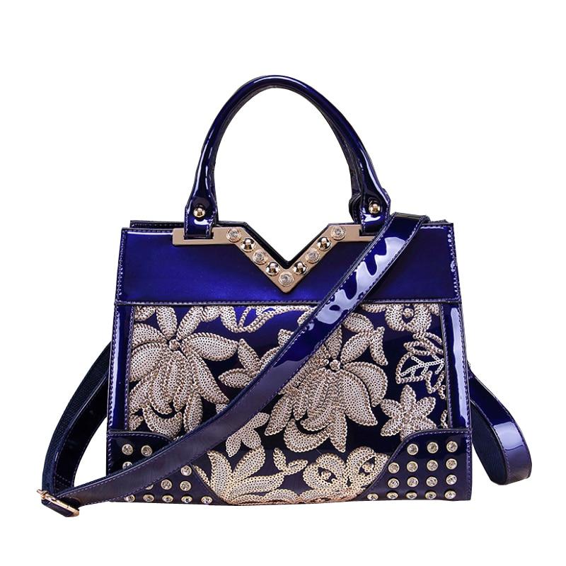 XFE Aristocratic Women Handbags Patent Leather Rivet Shoulder Bag Famous Designe