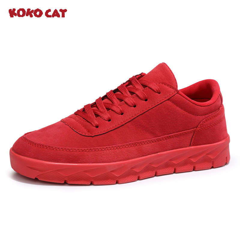 KOKO CAT New Classics Style Men Casual Shoes Lace Up Suede Leather Men Shoes Comfortable Men Flats Shoes Soft Light 2018 new fashion high top canvas shoes men stitching leather men s casual shoes lace up flats comfortable soft footwear