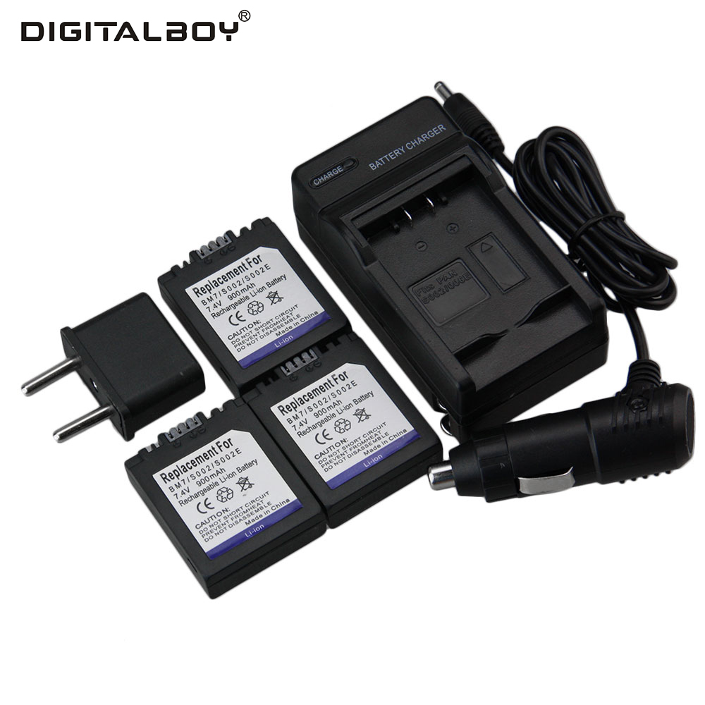 Hot Sale 3 Pcs CGR-S002 CGR S002 CGRS002 Camera Battery + Charger + Car Charger For Panasonic DMC-FZ1 DMC-FZ10 Wholesale
