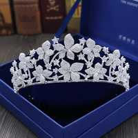 New Fashion Beautiful Flower Design Women Bridal Crowns Micro Cubic Zirocnia Pave White Gold Color Tiaras Hair Accessories H 021