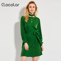 Clocolor Women Casual Dress Elegant A Line Spring Sleeve Mid Waist Button Bowknot Knee Length Ladies